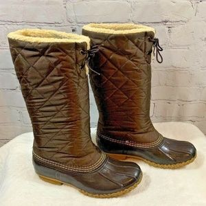 LL Bean Brown Quilted Nylon Fleece Duck Boots 7 M